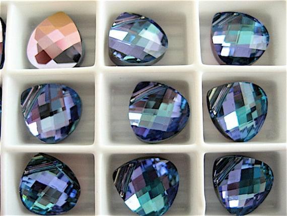 4 Aquamarine Vitrail Light Swarovski Crystals Pendants Briolette 6012 11mm