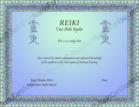 2 Color Knotwork Reiki Certificate Template by ...
