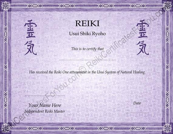 Border 6 reiki certificate template landscape oriented for Reiki level 1 certificate template
