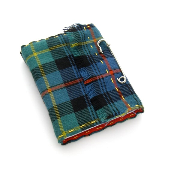 Scottish Kilt Tartan Journal and Sketchbook, A Handmade Journal in Plaid On Sale Ready to Ship