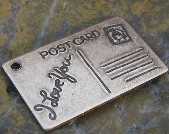 6 Antiqued Brass I Love you Post Card Pendants Love Charms1057