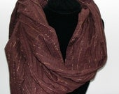 Brown cotton large scarf wrap with gold/copper stripes- summery lightweight- ready to ship