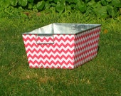 Bubblegum Pink and White Chevron Galvanized Tub Rectangular Storage Bin