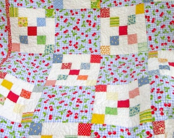 Child's Quilt  Nine Patch-Free Shipping