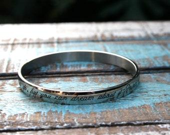 Custom Engraved Bangle Bracelet Stainless Jewelry, Engraved Bracelet