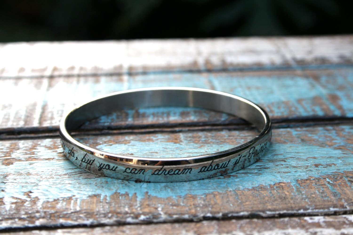 Custom Laser Etched Bangle Bracelet Stainless by linksofhope Old English Stencil