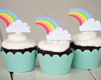 The Rainbow Party - Custom Cupcake Toppers and Their Wraps from Mary Had a Little Party