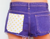 Purple Denim Shorts with Yellow Polka Dot Pocket  / / One of Kind UpCycled Fashion