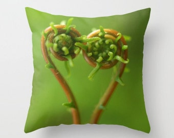Ferns in Love Pillow Cover Photograph...Affordable Home Photography Prints Nature Photography Decor Nature Lover Woodland Scene