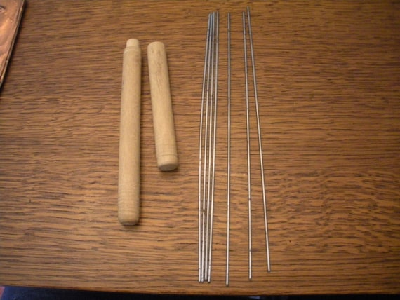 Antique Metal Knitting Needles In A Wooden Case