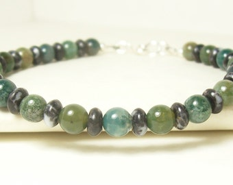 Mens Bracelet, Green Bracelet, Black Bracelet, Sterling Silver Bracelet, Mans Bracelet, Gemstone Bracelet, Indian Agate Bracelet,