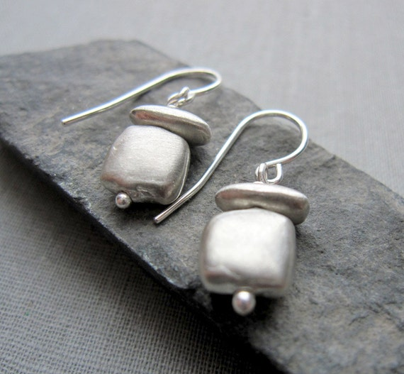 Satin Square Earrings - Sterling Silver