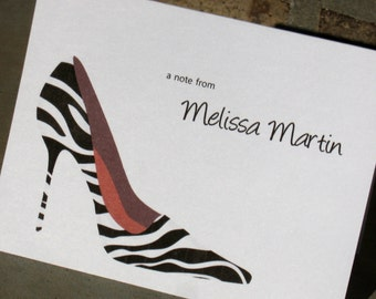Personalized Zebra Print Note Cards - High Heel Shoes Stationery