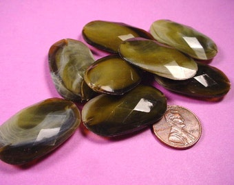 Vintage Olive Faceted Oval Plastic Beads