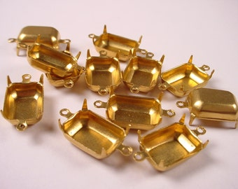 18 Brass Octagon Prong Settings 14x10 2 Ring Closed Backs