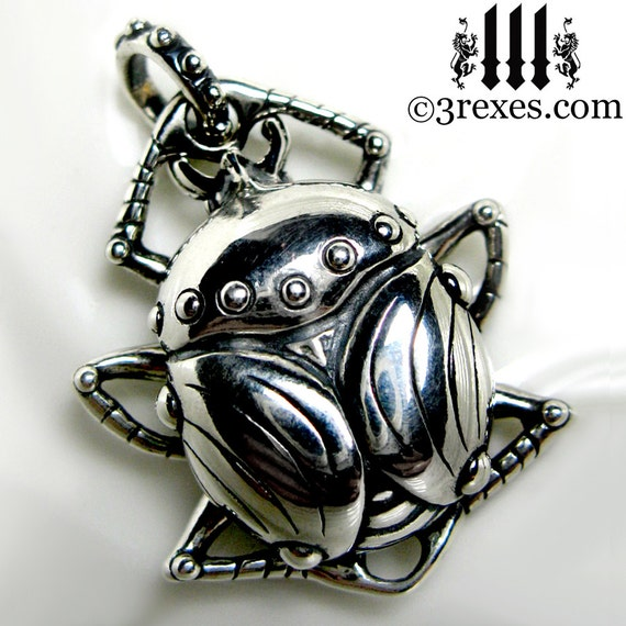 Silver Scarab Egyptian Necklace 925 Sterling Bug Beetle Insect Pendant with Snake Chain