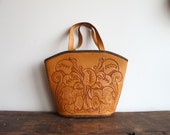 vintage Western style hand tooled leather purse