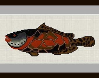 Go Fish No. 2  Fanciful fish cross stitch pattern PDF