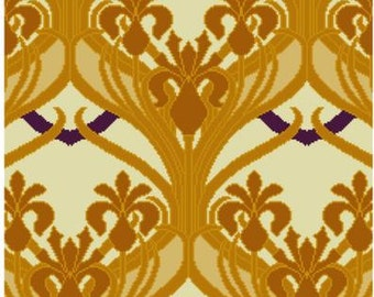 Simple Iris Floral Wallpaper repeating design for cross stitch PDF