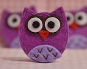 Set of 6pcs handmade felt baby owl--light plum (FT929)