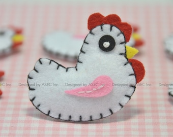 Set of 6pcs felt puffy chicken--white (FT710)