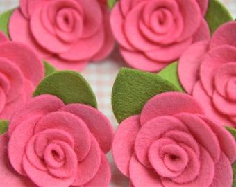 Set of 6pcs felt flower--dark carnation (FT982)