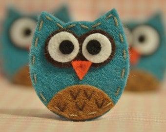 Set of 6pcs handmade felt baby owl--vivid turquoise (FT929)