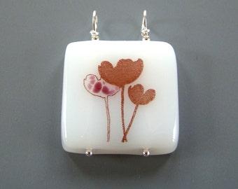 Pink Poppy Fused Glass Pendant White Brown Flower