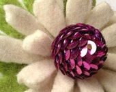 One Of A Kind - Repurposed Felted Wool Brooch -  White Coneflower