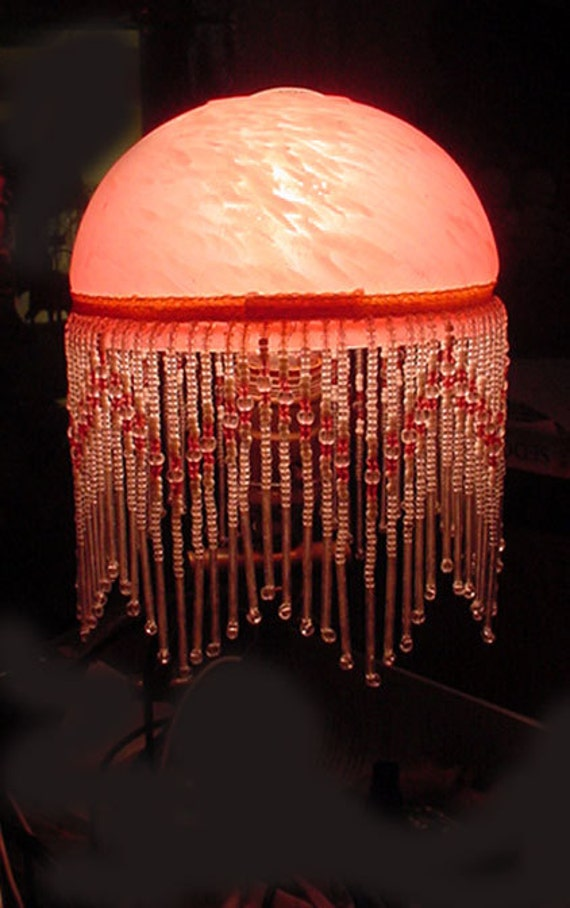 Pink Satin Glass Lamp Shade With Beaded Fringe Lovely