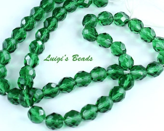 25 Prairie Green Czech Firepolish Faceted Round Glass Beads 8mm -Use coupon code LUIGIS10 for 10% off