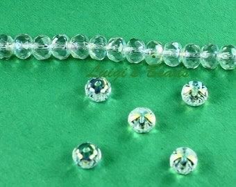 25 Crystal AB Czech Glass Firepolish Faceted Donut 4x6mm
