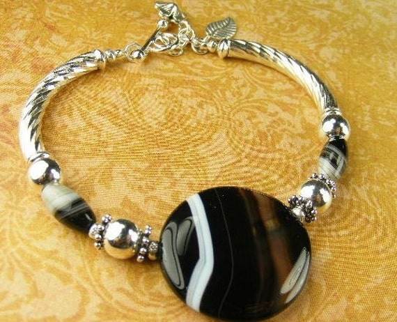 Black Sardonyx Bracelet  (Lydia) from the (Midnight Velvet Collection)  by Gonet Jewelry Design