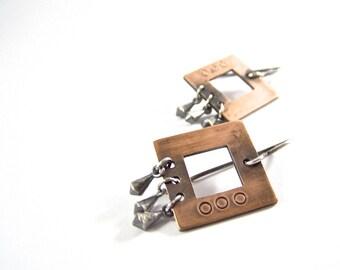 Copper Square Moroccan Plumb Bob Dangle Earrings Modern Rustic Sterling Silver Mixed Metal Two Tone