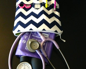 navy chevron nursing purse / AnyCase - nurse stethoscope organizer - in navy (for teachers, moms, kids, w/pockets for tools)