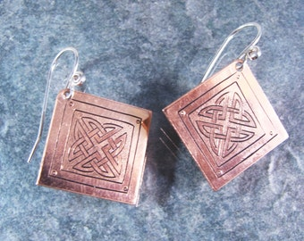 Hand Engraved Copper Celtic Knot Earrings