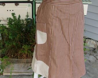 Vintage Brown Cotton and Tan Stripe Cotton Ladies Half Apron
