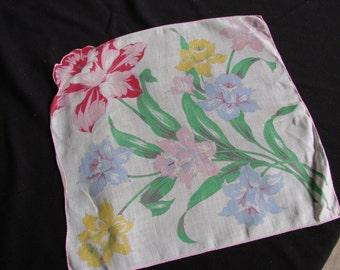Vintage Springtime Floral Print Handkerchief