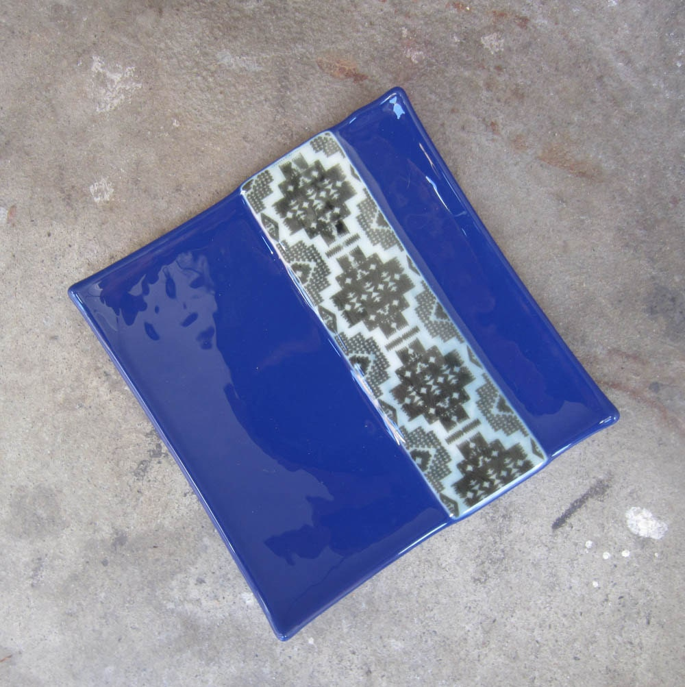 Cobalt Blue Glass Plate Fused Glass Plate Tribal Home Decor