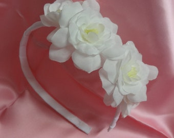 Bridal Hair Wedding Hair Flower Crown Flower Girl Headband Fascinator Flower Headpiece White Gardenia