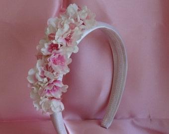 Flower Girl Headband Bridal Hair Wedding Hair Flower Crown Pink n White Cherry Blossom Fascinator