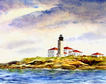 Beavertail light house watercolor, Jamestown, RI  lighthouse Giclee print. coastal print. watercolor art. seascape. Rhode Island coast