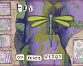 fly on open wings - 5 x 7 ORIGINAL COLLAGE by Nancy Lefko