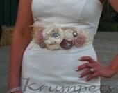 Romantic Bridal Sash- Dusty Pink Blush Bridal Sash, Vintage Wedding Dress Sash Pink Ivory Wedding Dress Sash Rhinestone Sash Bridesmaids