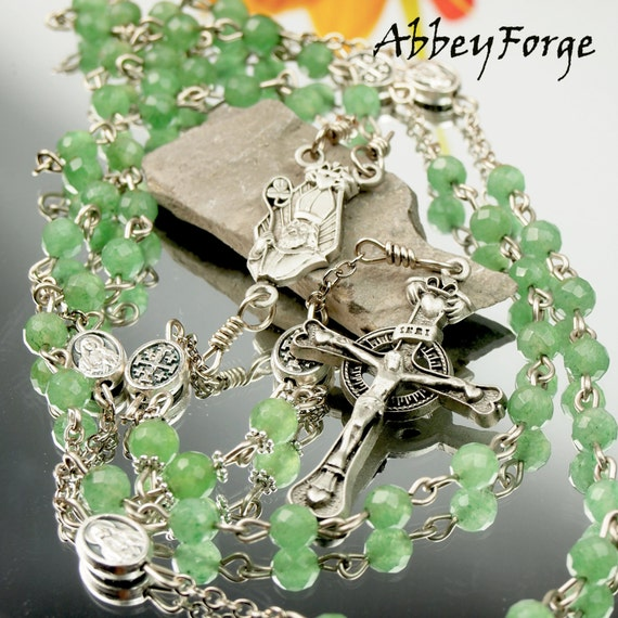 Green Jade Catholic Rosary Celtic Irish Theme with Pewter St.Patrick Cross and Centerpiece $99.00 USD