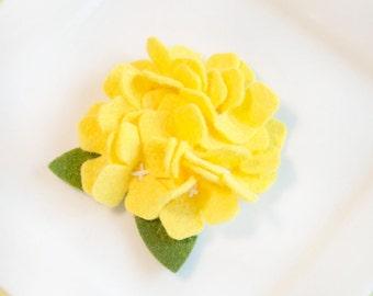 Wool Felt Flower Hydrangea in Yellow Set of Two (Small)