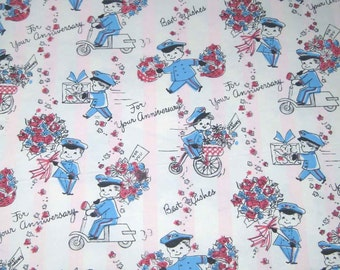 Vintage Dennison Pink and White Striped Anniversary Wrapping Paper or Gift Wrap with Cute Delivery Boy Flowers Bicycle Scooter