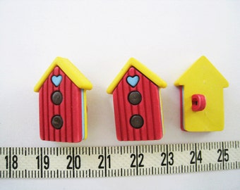 Red Beach House Button - 10 pcs