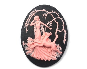 Cameo Woodland Lady and Deer Resin Black and Pink 40x30mm (2) IC087