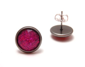 Hot Pink Glitter Studs - Super sparkly bright magenta glitter rhinestones on gunmetal post earrings